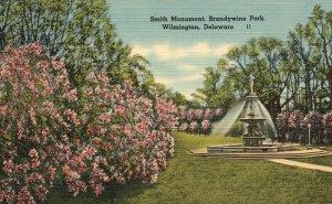 Vintage Postcard 1930's Smith Monument Brandywine Park Wilmington Delaware DE