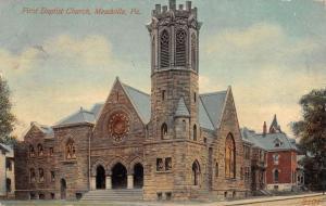 Meadville Pennsylvania First Baptist Church Street View Antique Postcard K16021