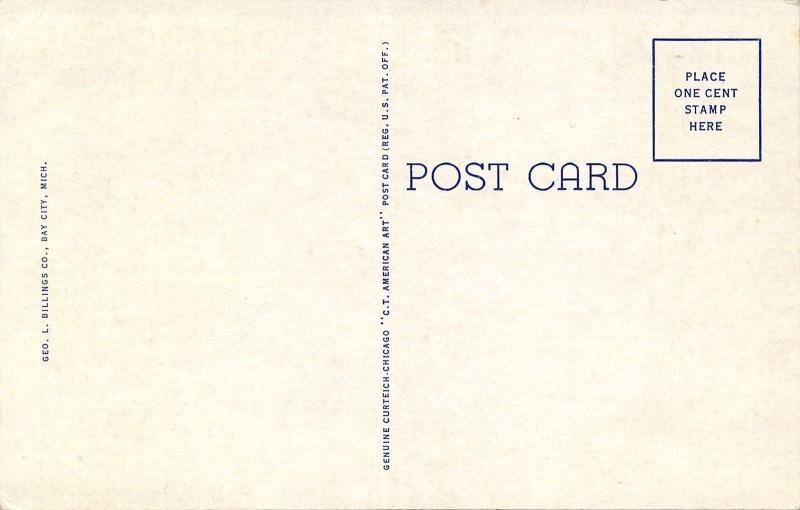 Bay City Michigan~Scottish Rite Cathedral~1940s Postcard