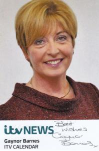 Gaynor Barnes ITV News Newsreader Hand Signed Cast Card Photo