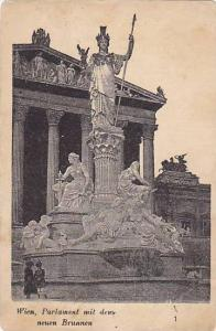 Wien, Parlament mit dem neuen Brunnen , Austria , PU-1909