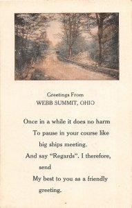 F60/ Webb Summit Ohio Hocking County Greetings From Postcard