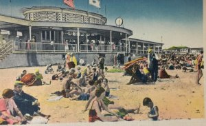 Nantasket Beach MA Postcard Showing Rear End of State Bath House Beach Swimsuits