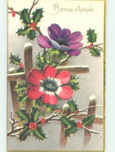 Unused 1930's foreign BEAUTIFUL RED AND PURPLE FLOWERS BY THE FENCE o9595