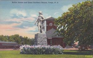 North Dakota Fargo Rollon Statue and Great Northern Railroad Station 1943 Cur...