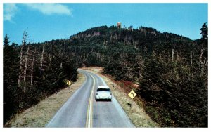 1950's Car driving on mount Mitchell Highest point E of Mississippi in N. C.