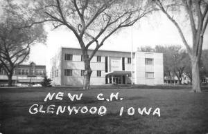 Glenwood Iowa birds eye view outside new court house real photo pc Y14367