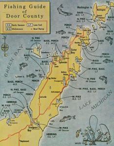 Fishing Guide To Door County Lake Michigan Map Postcard