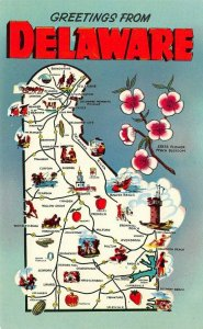 LP43  Map Wilmington Delaware  Postcard