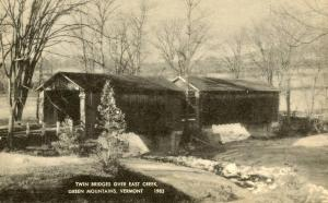 VT - Rutland Town. Twin Covered Bridges over East Creek. 1 lost in flood, 194...