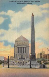 Indianapolis Indiana World War Memorial & Obelisk~Info on Back~1951 Postcard
