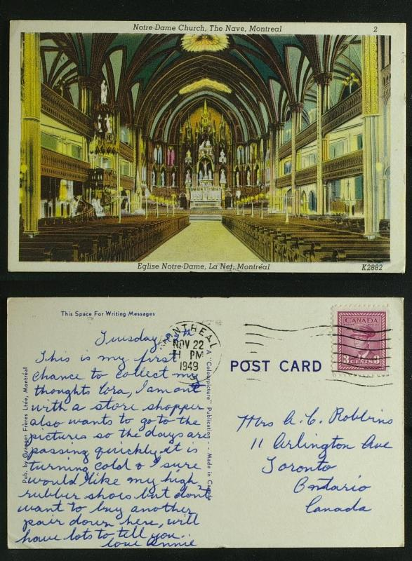 Englis Notre Dame La Nef / church Montreal pmk 1949