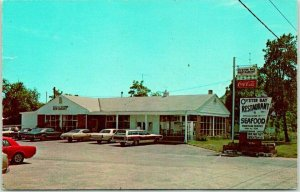 Forked River, New Jersey Postcard OYSTER BAY RESTAURANT Roadside *Stained Back
