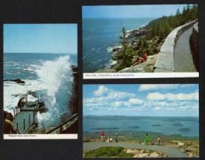 ME Lot 3 Acadia Nat Park Mt BAR HARBOR MAINE Postcards