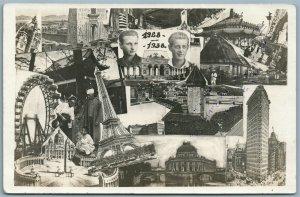 PHOTOMONTAGE EUROPEAN VIEWS 1936 VINTAGE REAL PHOTO POSTCARD RPPC