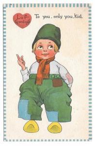 Valentine Dutch Kid Boy Luf Greedings Vintage 1913 Postcard