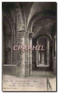 Old Postcard Mont St Michel Abbey Church Romane