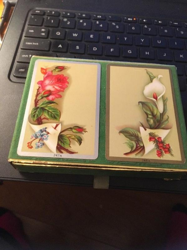 VINTAGE CONGRESS CEL-U-TONE PINOCHLE PLAYING CARDS 2 Decks Floral 247A and 248A