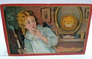 Vintage Halloween Postcard Tucks Embossed 1910 Original Child Spooked Series 174