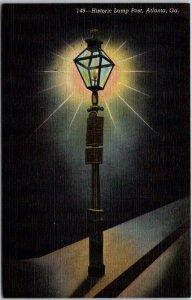 c1940s Atlanta, GA Postcard Historic Lamp Post Whitehall & Alabama Sts. Linen
