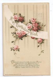 Birthday Poem Postcard Embossed Winsch 1920