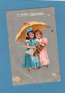 A Merry Christmas Holiday Old Antique Postcard, Two Little Girls With Umbrella