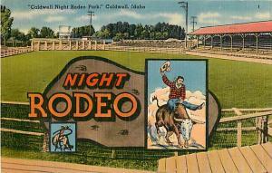 Caldwell Night Rodeo in Caldwell Idaho ID 1946 Linen