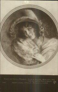 Beautiful Woman w/ a Muff c1910 Real Photo Postcard of Art - Paris
