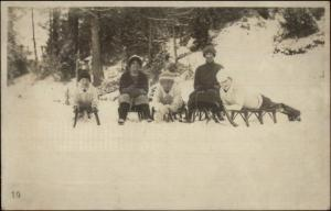 Sledding Party Taking Rest For Photo c1910 Real Photo Postcard