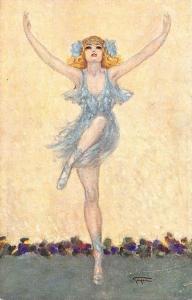 Beautiful Dancing Giri Ballerina Artist Signed Gayac Postcard