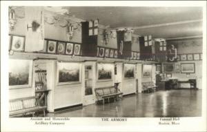 Boston MA Faneuil Hall Interior c1940 Real Photo Postcard #2 myn Armory