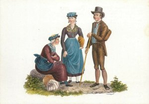 Switzerland swiss early folk costumes ethnic types Valais