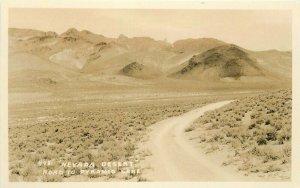 Nevada Desert Road Pyramid Lake 1930s RPPC Photo #498 Postcard 13011