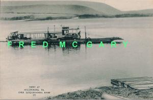 1943 Millersburg Pennsylvania PC: Sternwheeler Ferry on Susquehanna With Auto