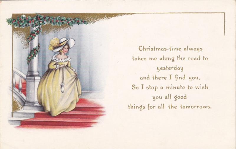 Christmas-time Poem, Southern bell wearing yellow gown and bonnet, Holly, gol...