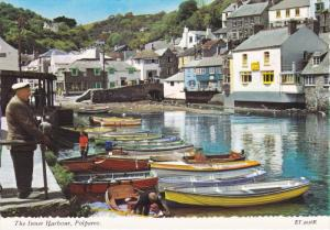 Boats and Village at Inner Harbour, Polperro, Cornwall, England, UK, 1950-60´s