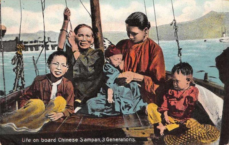 China Chinese Family on board Sampan Boat Antique Postcard J79606