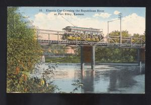 FORT RILEY KANSAS ELETRIC RAILROAD TRAIN CAR BRIDGE OLD POSTCARD GLENNONVILLE MO