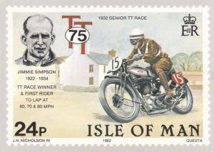 Jimmie Simpson 1932 Senior Race Isle Of Man TT Races Stamp Rare Postcard