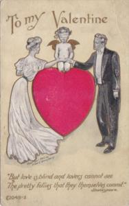 Valentine's Day With Cupid Sitting On Large Red Heart & Bride and Groom 1909