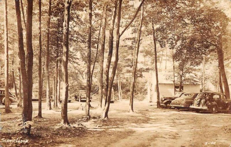 Michigan Scenic Lodge Camping Woods Parking Lot Real Photo Postcard J73821