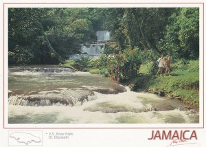 Lovers At RS River Falls St Saint Elizabeth Jamaica Postcard