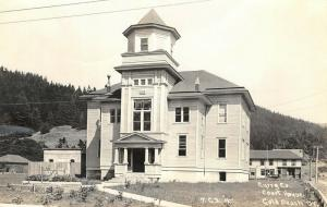 Gold Beach Oregon~1912 Curry County Court House~Business Behind~1940s RPPC
