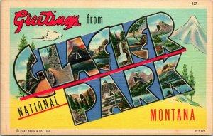 Vtg Linen Postcard Large Letter Greetings From Glacier National Park Unused CT