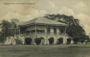 straits settlements, SINGAPORE, Recreation Club (1910s) Postcard