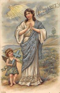 Embossed Charity Religious Illustration, Prayer, Angel Cherub, Floral Cross