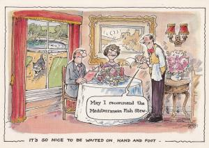 Meditteranean Fish Stew Restaurant Comic Postcard