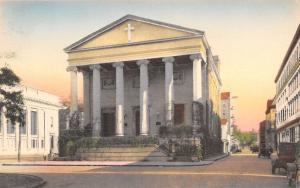 Savannah Georgia~Christ Church~Hotel Behind~Street View~Vintage Car~Handcolored