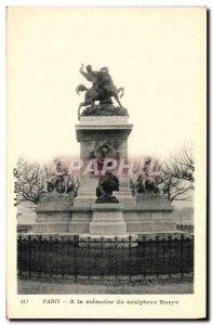 Old Postcard From Paris A La Memoire sculptor Barye