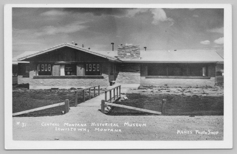 Lewistown Montana~Bridge Over Ravine~Central Historical Museum~RPPC c1950 PC